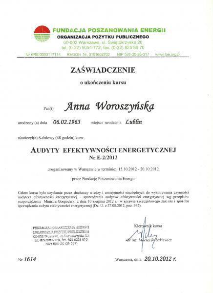 Zaświadczenie o ukończeniu kursu Anny Woroszyńskiej