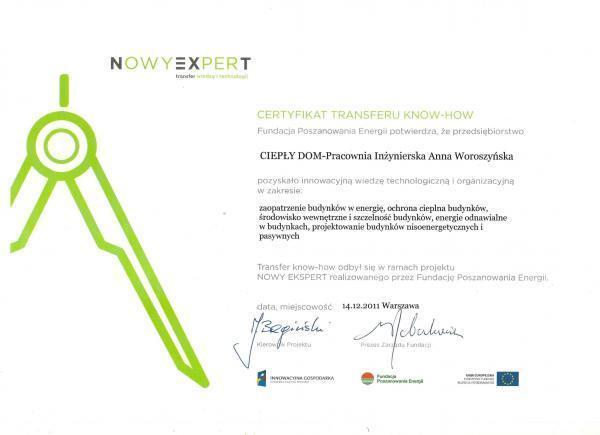 Certyfikat pozyskania wiedzy