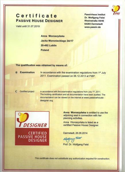 Certyfikat projektowania domu