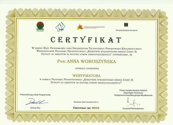 Certyfikat uzyskania uprawnień weryfikatora