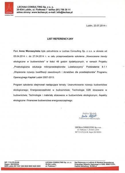 List referencyjny zatrudnienia