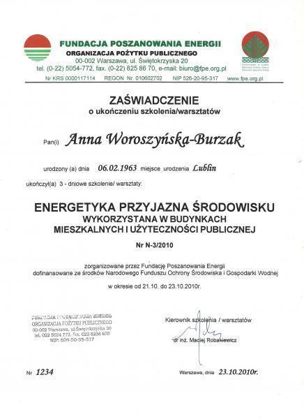Zaświadczenie ukończenia warsztatów energetyki przyjaznej środowisku
